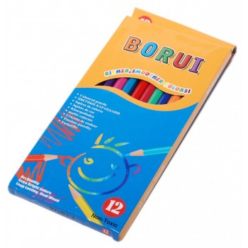 Комплект 12 броя цветни моливи в цветна картонена кутия