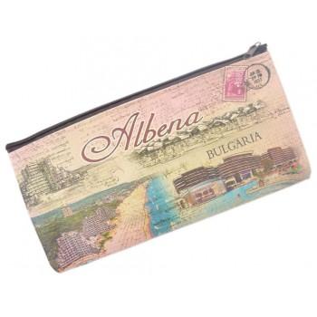Сувенирно портмоне от изкуствена кожа с изобразени хотели и плажна ивица от Албена