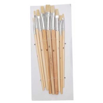 Комплект девет броя плоски четки с естествен косъм и дървена дръжка