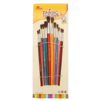 Комплект 12 броя четки с естествен косъм и цветни дръжки
