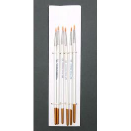 Комплект от шест броя кръгли тънки четки за рисуване с водни бои - N00