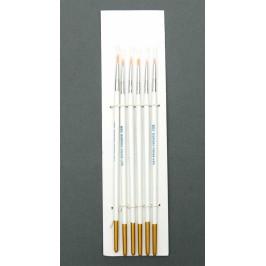 Комплект от шест броя кръгли тънки четки за рисуване с водни бои - N000