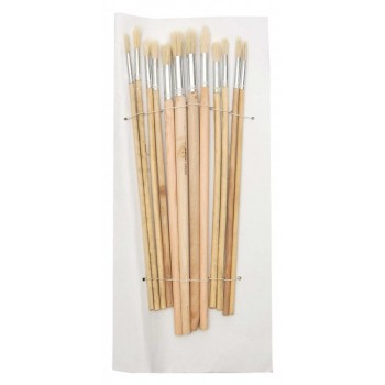 Комплект 12 броя четки с естествен косъм и дървена дръжка