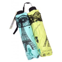Цветен, сгъваем чадър с метален механизъм, декориран с нежна дантела и двама влюбени под Айфеловата кула