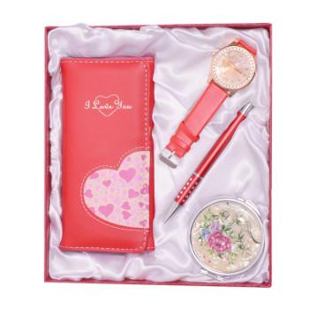 Луксозен подаръчен комплект, включващ портмоне, ръчен часовник, огледало и химикал