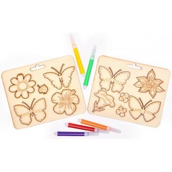 Комплект за оцветяване - лазарно изрязани дървени елементи - две плочки с цветни фулмасти