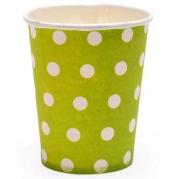 Парти артикул - цветна картонена чашка на бели точки