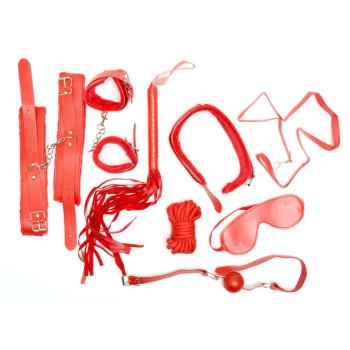 Еротичен комплект от 8 броя каишки, маска за очи, белезници с пухчета, топче за уста и камшик