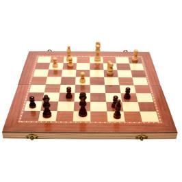 Комплект шах и табла в дървена кутия