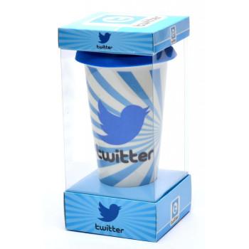 Керамична чаша с капаче, декорирана с изображения от социалните мрежи