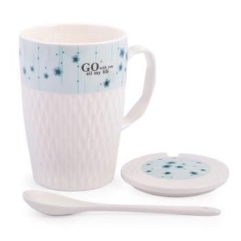 Керамична чаша за чай с капаче и лъжичка