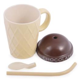 Керамична чаша във формата на сладолед с капаче и твърда сламка за многократна употреба с накрайник лъжичка за разбъркване