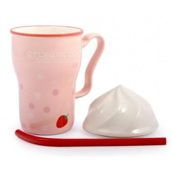Керамична чаша с капаче и твърда сламка
