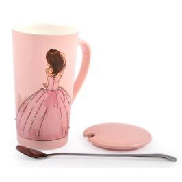 Керамична чаша с капаче и лъжичка