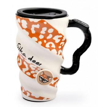 Керамична чаша с капак, подходяща за подарък на мъж, жена или дете