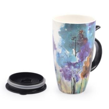 Керамична чаша с капак, декорирана с годишни сезони