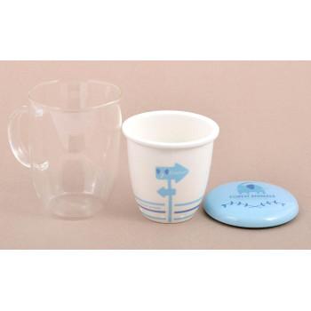 Чаша за чай с керамична цедка и капаче, декорирана с животно