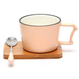 Керамична чаша за кафе или чай с метална лъжичка и подложка с магнит