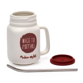 Керамична чаша със силиконов капак и сламка, декорирана с надпис - Nice to meet you