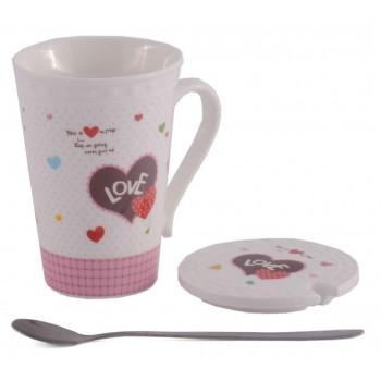 Красива керамична чаша с капаче и лъжичка, декорирана с надпис и рисунка