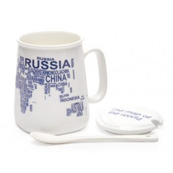 Керамична чаша с капак и лъжичка, декорирана с имената на държави от цял свят