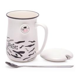 Керамична чаша за мляко с капак и метална лъжичка