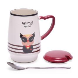 Керамична чаша с капак и метална лъжичка, декорирана с животно