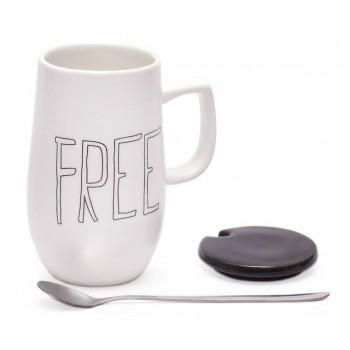 Керамична чаша с капак и метална лъжичка, декорирана с надпис