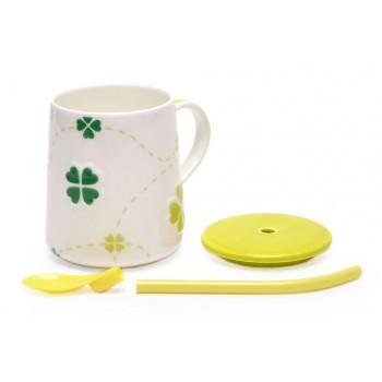 Керамична чаша с капак и сламка - лъжичка, декорирана с детелинки