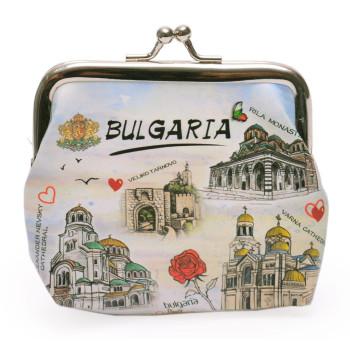 Сувенирно малко портмоне от изкуствена кожа с изобразени - забележителности от България - Рилски манастир, Храм-паметник Ал