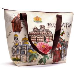 Сувенирна дамска чанта във формата на трапец, изработена от изкуствена кожа