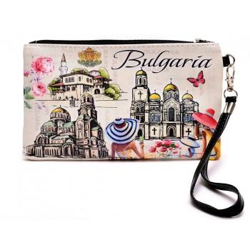 Сувенирно портмоне от изкуствена кожа с изобразени - Двореца в Балчик, Варненската катедрала и храм - паметника Александър Невски