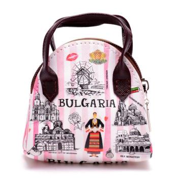 Сувенирна малка дамска чанта, изработена от изкуствена кожа