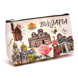 Сувенирно портмоне изработено от изкуствена кожа с изобразени - Варненската катедрала, Рилския манастир, Пантократора и Вятърната мелница в Несебър
