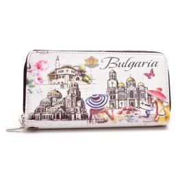 Цветно портмоне от изкуствена кожа с удобна дсръжка за китката, декорирано с Варненската катедрала, Храм - паметник Ал