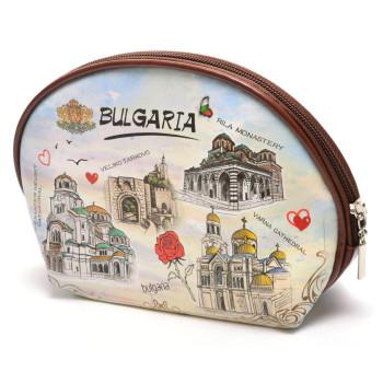Сувенирно малко портмоне с цип, изработено от изкуствена кожа с изобразени - забележителности от България - Рилски манастир, Храм-паметник Ал
