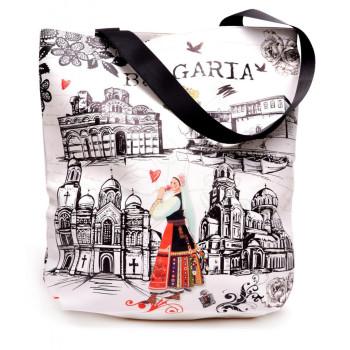 Сувенирна дамска чанта в правоъгълна форма, изработена от изкуствена кожа