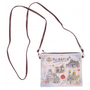 Малка дамска чанта тип портомоне, изработена от изкуствена кожа