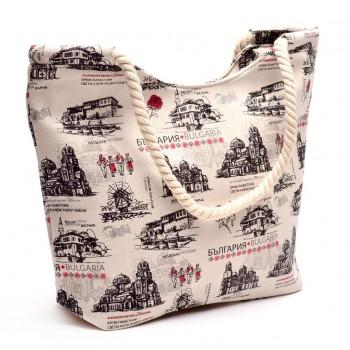 Лятна чанта, изработена от текстил с дръжки - въжета