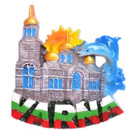 Сувенирна релефна фигурка с магнит - Варненската катедрала и два делфина