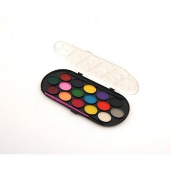 Комплект от 16 цвята водни бои с две четки в кутийка