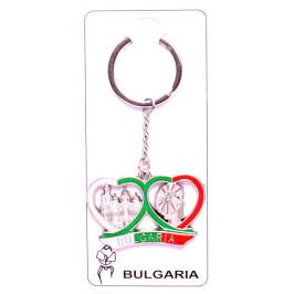 Сувенирен метален ключодържател - две сърца и надпис - България, декорирани с Варнеската катедрала и Вятърната мелница в Несебър