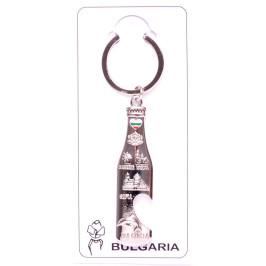 Сувенирен метален ключодържател - отварачка във формата на бутилка, декорирана със забележителности от София, Варна и Несебър