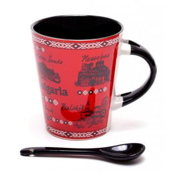 Сувенирна керамична чаша, декорирана с Рилския манстир и забележителности от Балчик, Варна, Златни пясъци, Слънчев бряг, София и Несебър