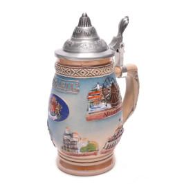 Сувенирна порцеланова чаша с метално качапче, декорирана с красиви релефни орнаменти, Гербът на Р