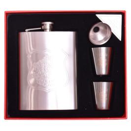 Стилна метална манерка за уиски с дозатор и две чашки