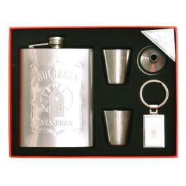 Стилна метална манерка за уиски с дозатор, ключодържател и две чашки