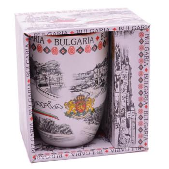 Сувенирна керамична чаша, декорирана със забележителности от Балчик, Варна, Обзор и Несебър