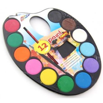 Палитра от 12 цвята водни бои с две четки в кутийка