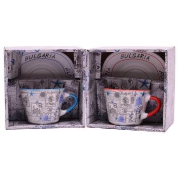 Сувенирна керамична чаша с чинийка, декорирани с морски мотиви и забележителности от Варна и Несебър